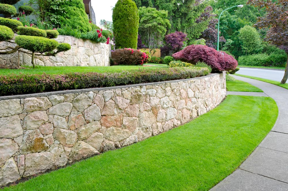 landscaping with stone walls