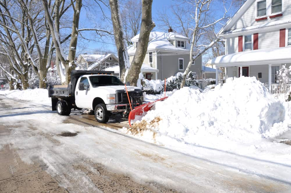 snow plowing residential street