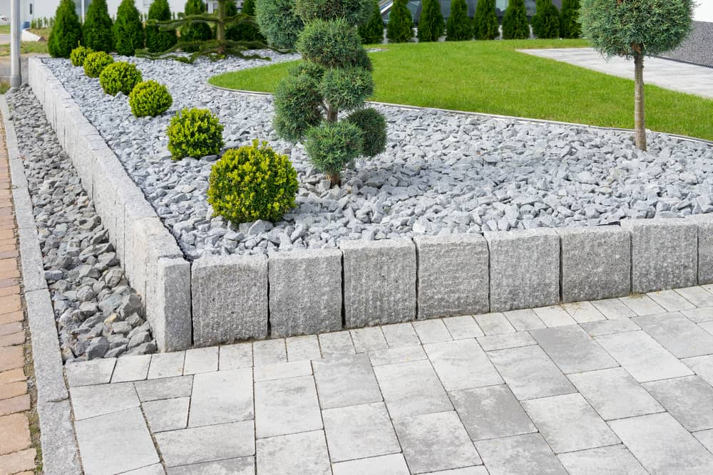 stone and bushes landscape design
